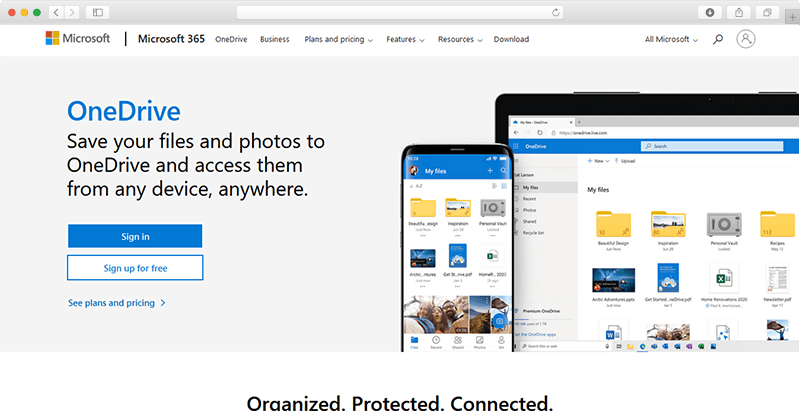OneDrive Website Screenshot